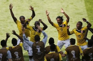 W杯フォト=コロンビア、先制ゴールに「歓喜のダンス」